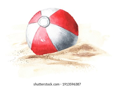 Beach Inflatable Color Ball on the sand. Hand drawn watercolor illustration isolated on white background