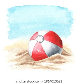 Beach Inflatable Color Ball on the sand  on the background of the sea. Hand drawn watercolor illustration isolated on white background
