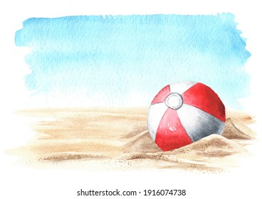Beach Inflatable Color Ball on the sand  on the background of the sea with copy space. Hand drawn watercolor illustration isolated on white background