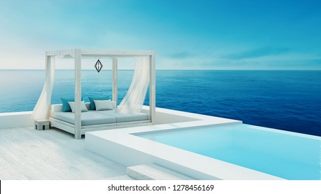 Beach lounge - ocean villa seaside & sea view for vacation and summer / 3d render outdoor - Illustration