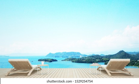 Beach lounge with sea view in hotel or resort on summer season - Living area and island view for holiday or vacation artwork - 3D Rendering