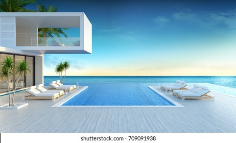 Beach lounge, sun loungers on Sunbathing deck and private swimming pool with  panoramic sea view at Modern villa/3d rendering