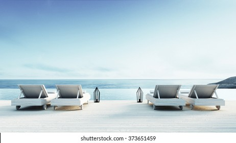 Beach lounge - Sundeck on Sea view for vacation and summer / 3d render
