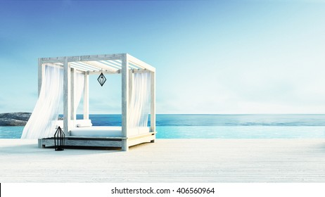 Beach lounge - Sundeck on Sea view for vacation and summer / 3d rendering