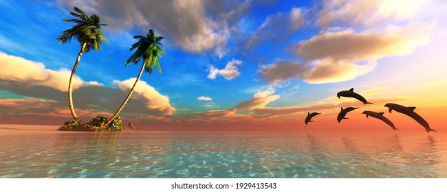 Beach with palm trees at sunset, dolphins play near the beach, dolphins at sunset, ocean, sea sunset, 3D rendering