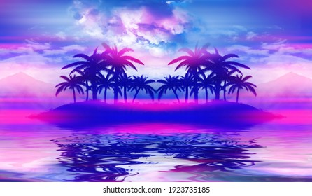 Beach party empty scene background. Tropical palms against a background of mountains, water reflection, neon lighting, laser show. 3d illustration