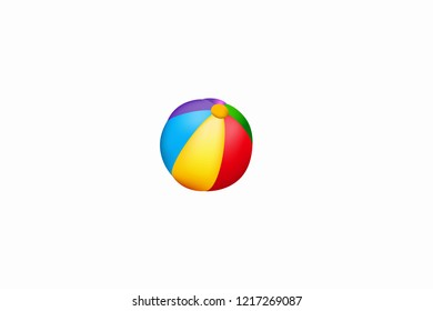 beach and poll ball with white background