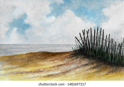 Beach Sand and Fence Scene