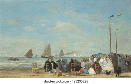 Beach Scene at Trouville, by Eugene Boudin, 1863, French impressionist painting, oil on wood panel. When Boudin began painting the bourgeoisie at the beaches at Normandy, tourists with money and leis