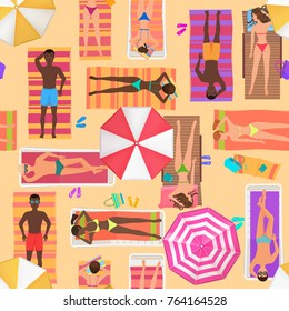 Beach seamless pattern top view. Summer people on a sunny beach. View from above summertime people with Umbrellas, towels and sunbeds. Cartoon  illustration.