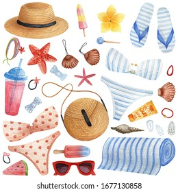 Beach set drawn by watercolor. Cute cartoon pattern. Stylish outfit for a girl on the sea on vacation. Hand-drawn summer postcard on paper.