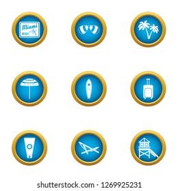 Beach superintendence icons set. Flat set of 9 beach superintendence icons for web isolated on white background