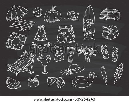 beach theme doodle on chalkboard background stock illustration