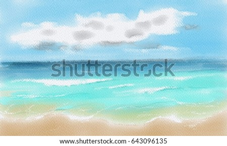 beach tropical sea watercolors water colorのイラスト素材 643096135