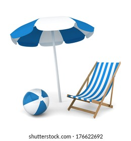 Beach umbrella, chair and ball. Summer vacation concept. 3d illustration on white background