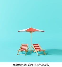Beach umbrella with beach chairs on pastel blue background. summer vacation concept. 3d rendering