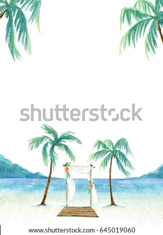 beach wedding invitation template sea landscapeのイラスト素材