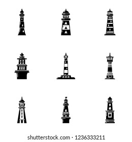 Beacon icons set. Simple set of 9 beacon icons for web isolated on white background