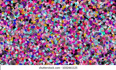 Beads background. Fashion accessory. Handmade craft. Glass beads top view. Sequins. Beads wallpaper. Heap of gems. Rhinestones. Realistic illustration. 3d rendering. Jewelry making.