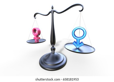 Beam Balance Gender Equality and Inequality concept 3d illustration on a white background