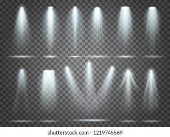 Beam of floodlight, space illuminators lights effects, stage illumination spotlight. Night club party floodlights on scene and white spotlights lighting interior  realistic 3d set