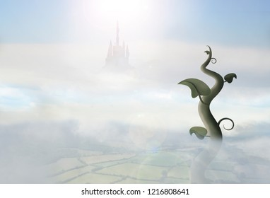 beanstalk in clouds with giant castle in background