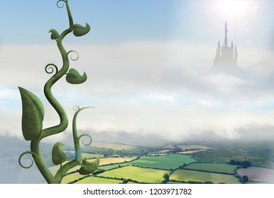 beanstalk rising through clouds with palace in background