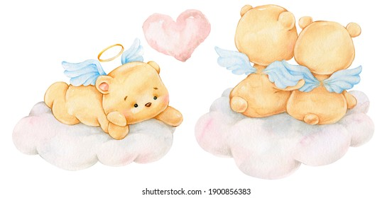 bear angels , watercolor bears with wings, bear on the cloud