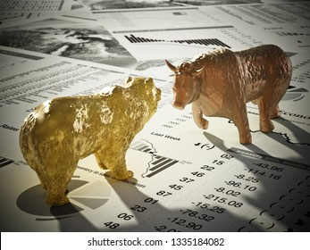 Bear and bull figures on economy newspaper pages. 3D illustration.