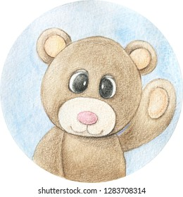 Bear cartoon hand drawn illustration. Watercolor and pencils art
