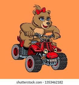 Bear Cute Motorcycle