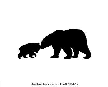 Bear family black silhouette animals. JPG illustration.