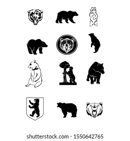 bear icon , bear black and white modern icon and logo