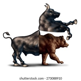 Bear market correction financial business concept as a bull opening up and revealing a bearish stock market  as an icon for change in investing sentiment or markets headed towards negative territory.