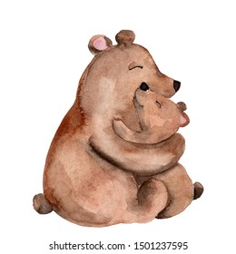 Bear mom and baby cuddle; watercolor hand draw illustration; can be used for cards or baby shower decor; with white isolated background