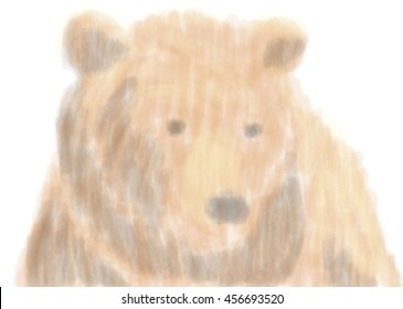 Bear portrait with watercolor