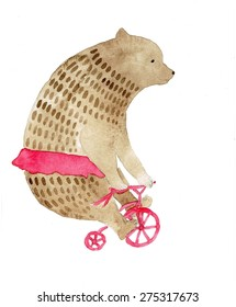 Bear riding a bike watercolor illustration