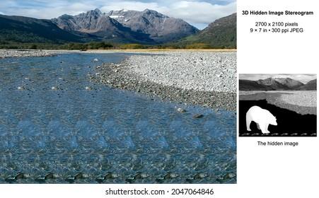 Bear River 3D Hidden Image Stereogram Illusion