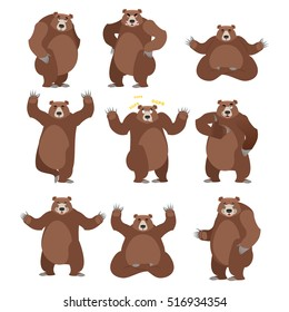 Bear set on white background. Grizzly various poses. Expression of emotions. Wild animal yoga. Eevil and good. Sad and happy beast. Big strong predator thumbs up