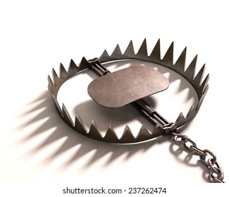 Bear trap on white background. Clipping path included.