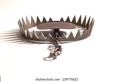Bear trap on white background with clipping path included.