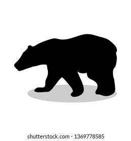 Bear wild black silhouette animal. JPG illustration.