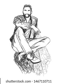 Bearded attractive man sits on the ground with his feet forward towards the viewer. Hand-drawn sketch in pencil on white paper. Can be used for fashion illustration, collage, banner, postcard, flyer