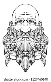 Bearded bald dwarf with a kind look