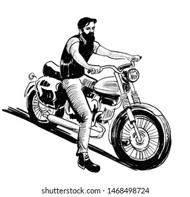 Bearded biker riding a vintage motorcycle. Ink black and white drawing