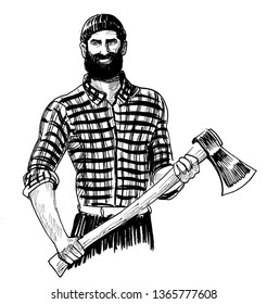Bearded Canadian logger with ax. Ink black and white drawing