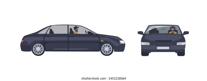 Bearded caucasian man in cap driving black sedan car isolated on white background. Male driver and his luxury automobile. Front and side views. Cartoon colorful illustration in flat style.