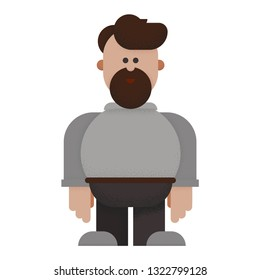 Bearded male cartoon character