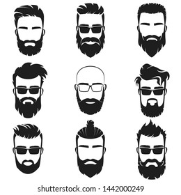 Bearded stylish hipster men faces with different haircuts style, mustaches, beards, black sunglasses avatar, emblem, label illustration.