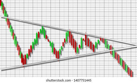 Bearish Pennant Stock Chart Pattern 3D Illustration